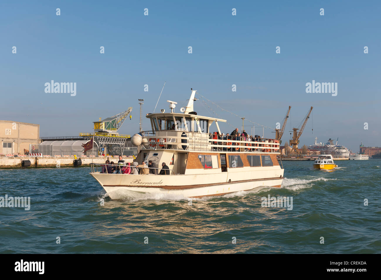 Vaporetto ferry connect all the islands in the lagoon, Venice, Veneto, Italy, Southern Europe - Stock Image