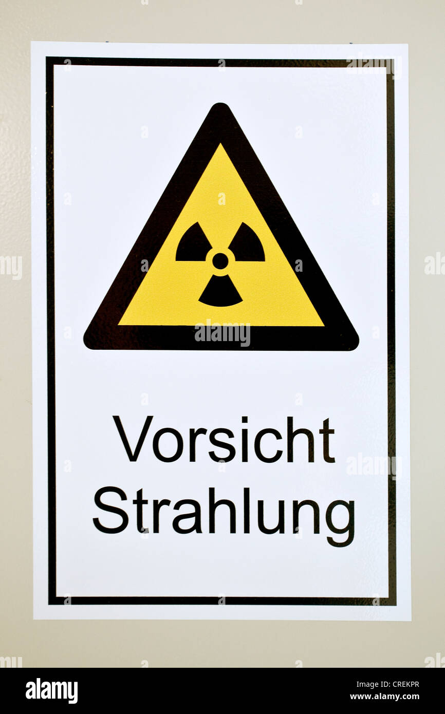 Warning sign, Vorsicht Strahlung or caution radiation - Stock Image