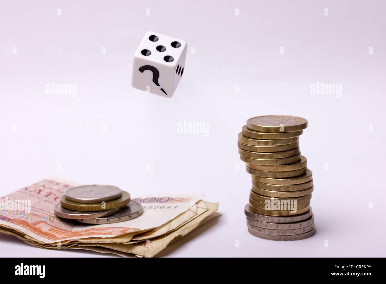 Euros and Drachmas - Stock Image