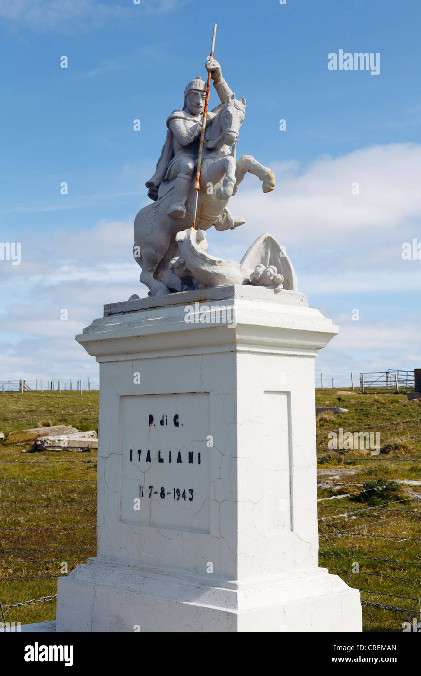 Lamb Holm, Orkney Islands, Scotland, UK. Italian prisoners of war memorial statue of St George slaying the Dragon - Stock Image