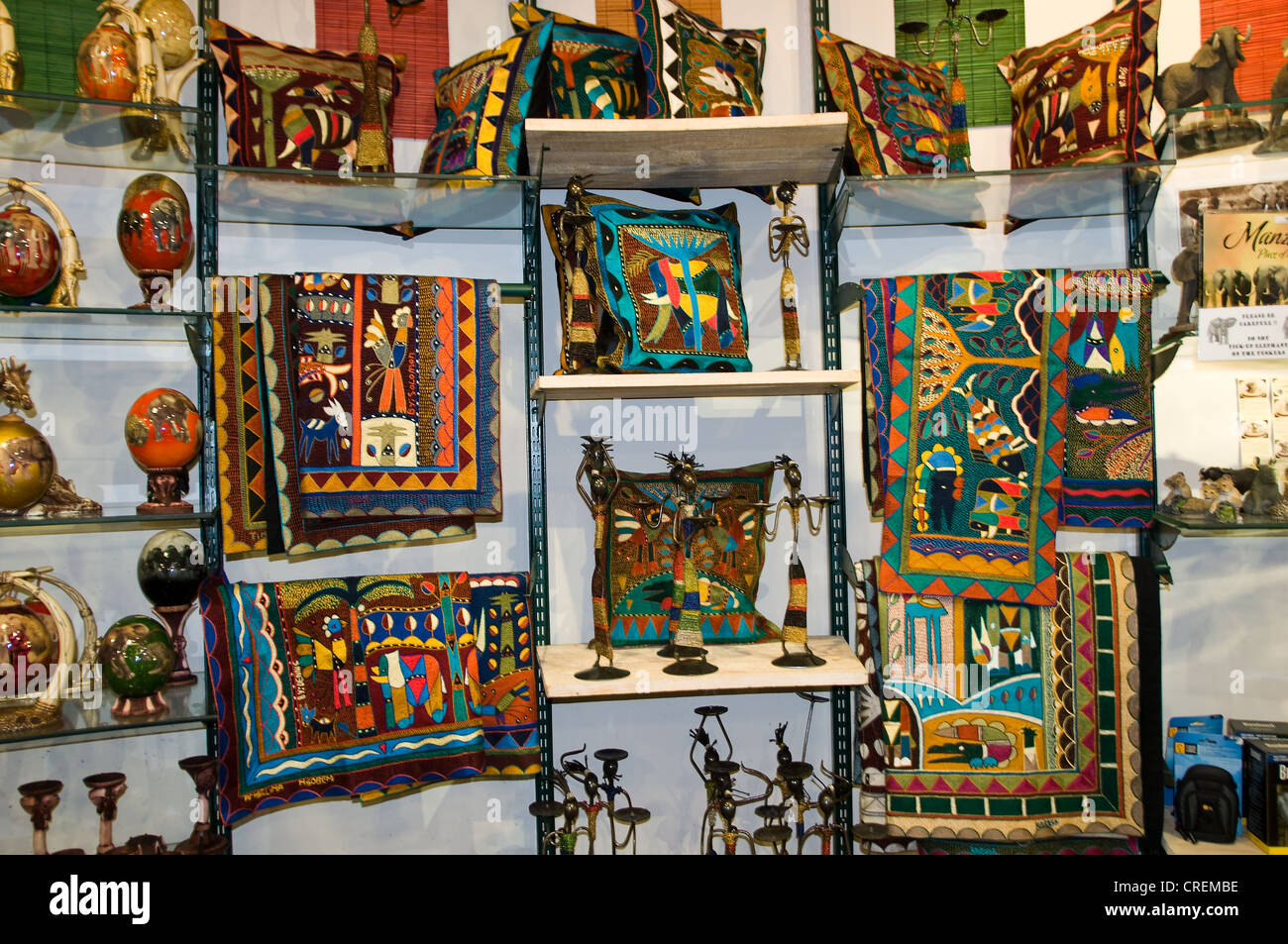 Tribal art in craft shop kruger south africa stock photo for Art craft online store