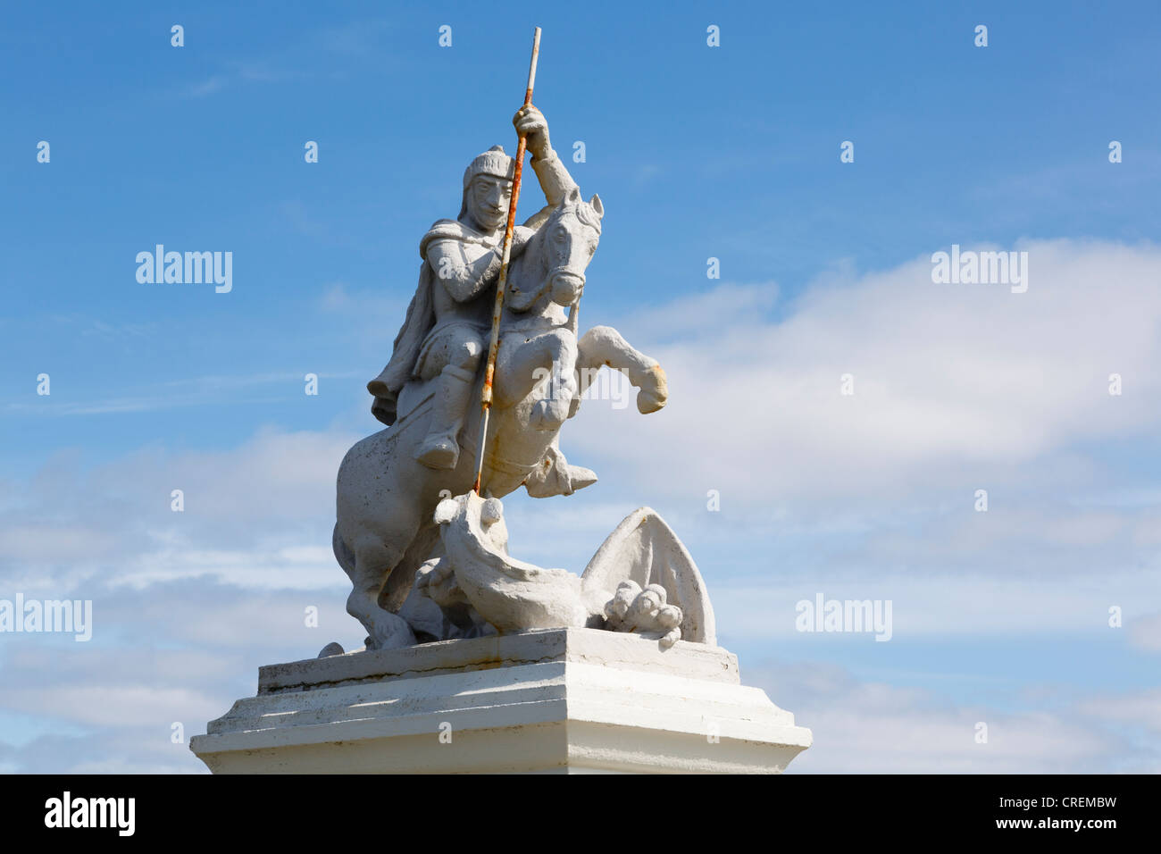 Italian prisoners of war memorial statue of St George slaying the Dragon 1943. Lamb Holm, Orkney Islands, Scotland, - Stock Image