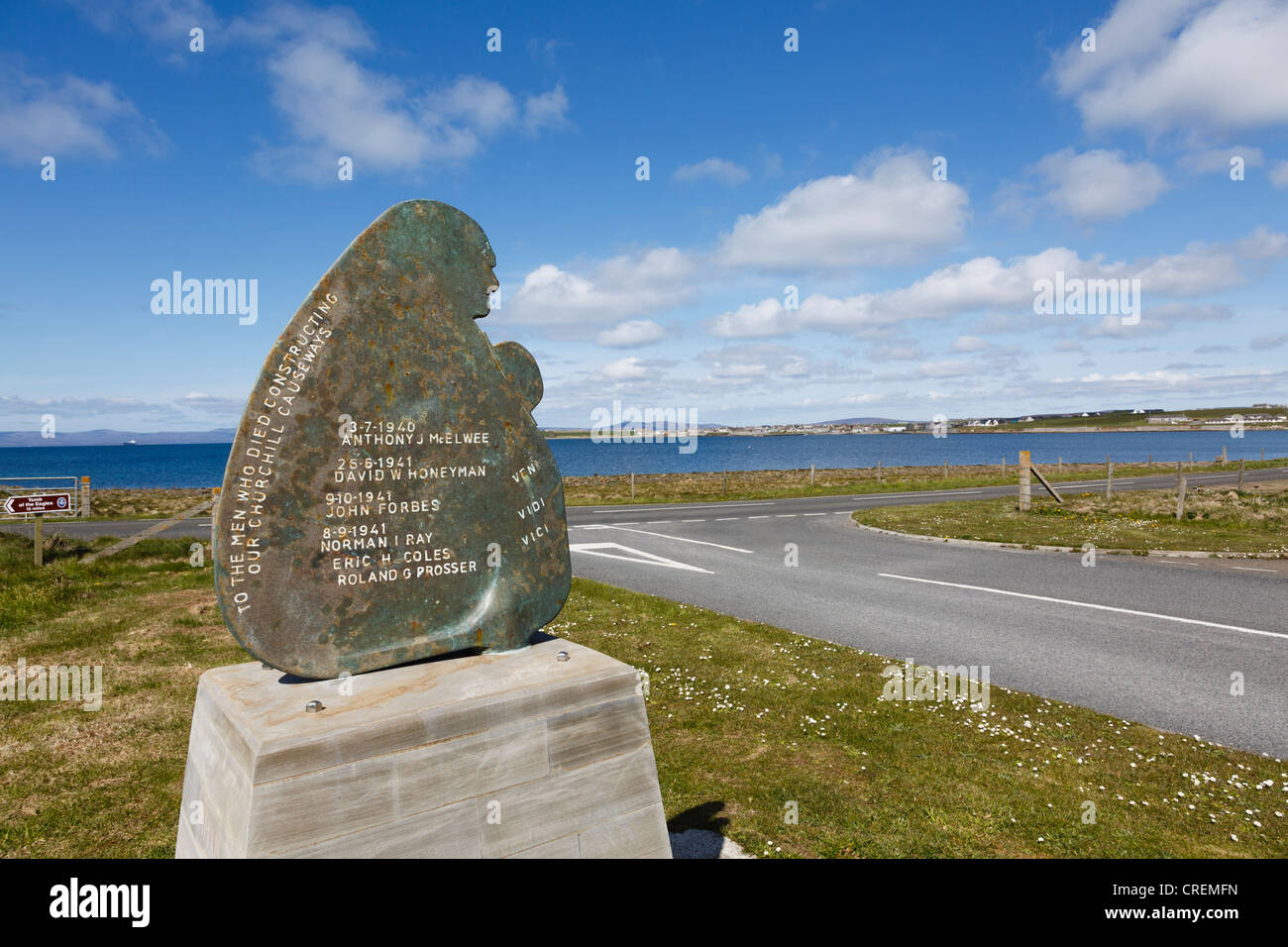 Memorial sculpture to men who died constructing Churchill barriers to connect small islands on Lamb Holm Island - Stock Image