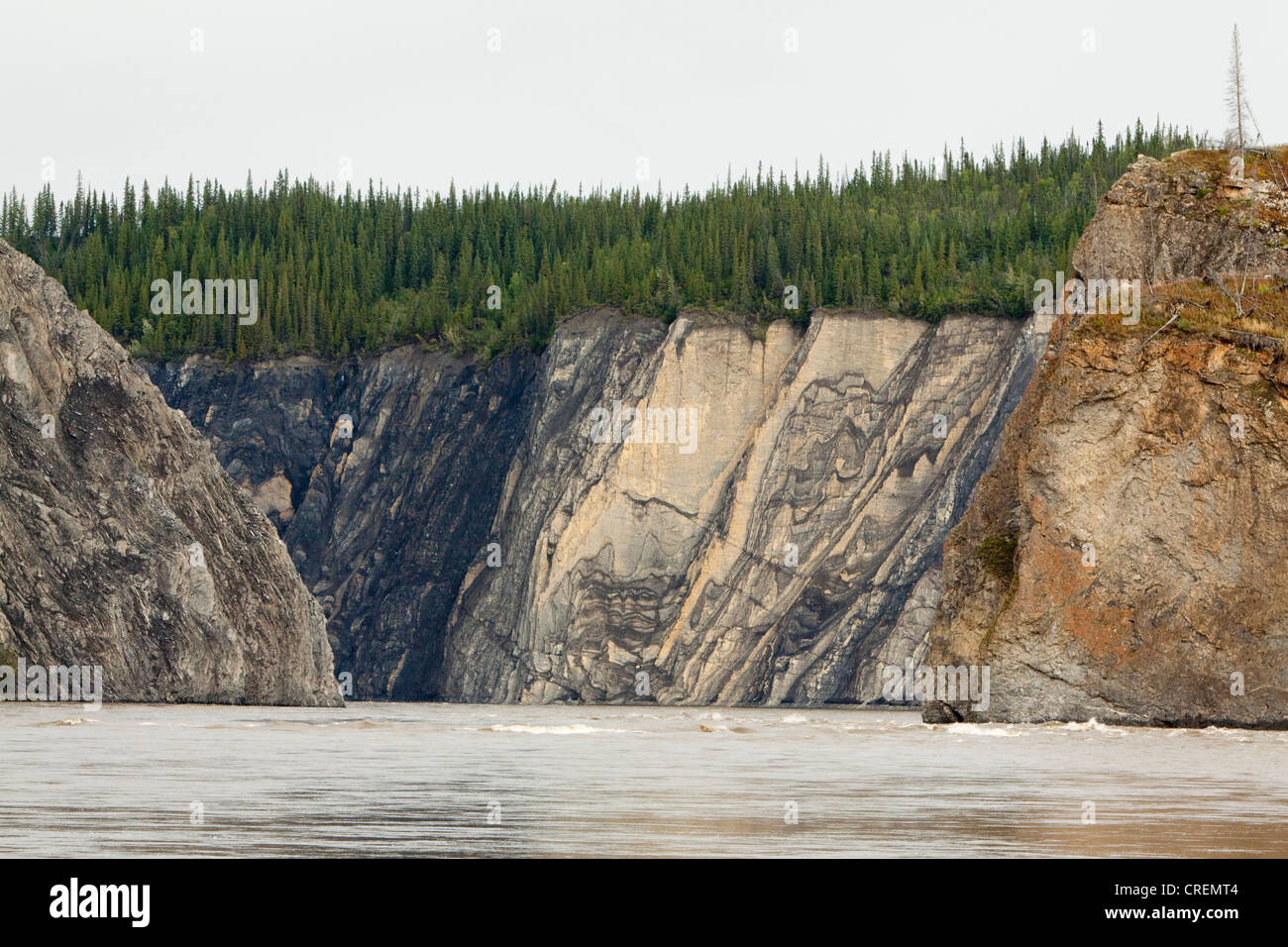 Spiral rock structures and rapids of Peel River Canyon, Peel River, Peel Watershed, Yukon Territory, Canada Stock Photo
