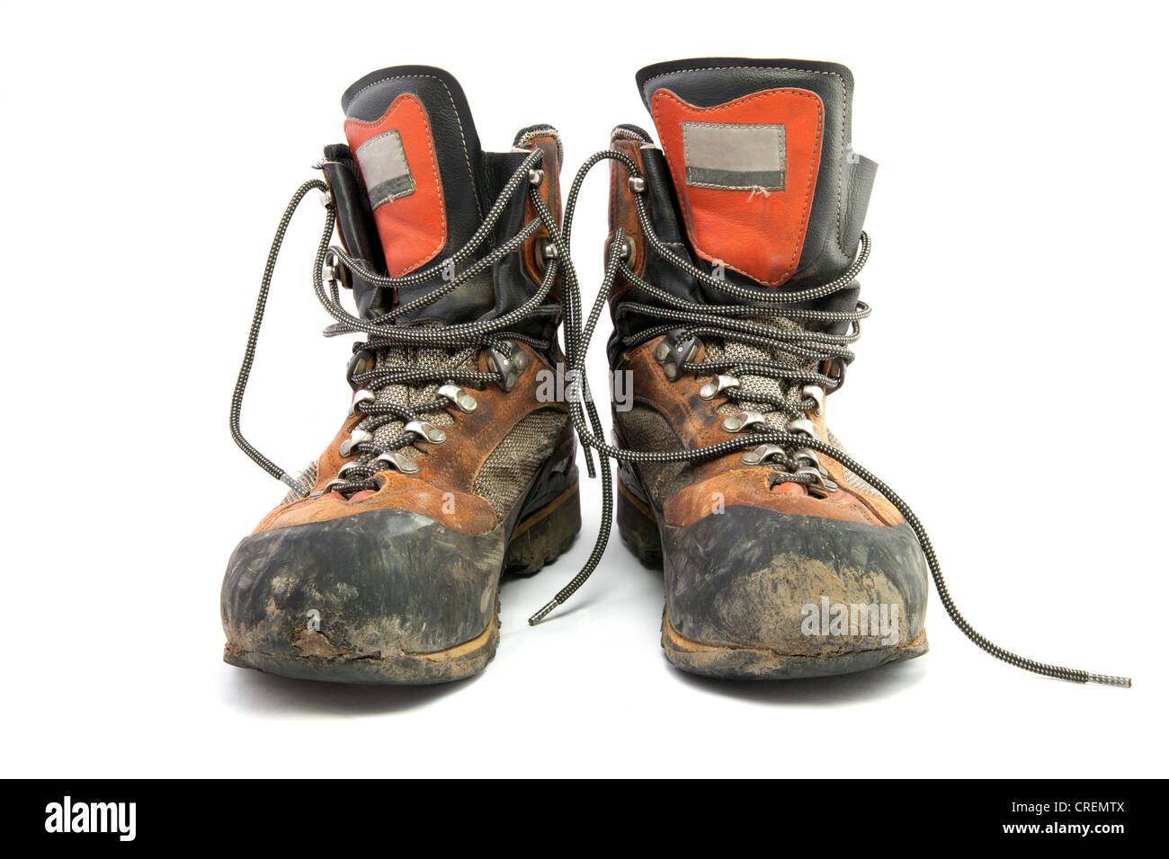 Pair of worn hiking boots - Stock Image