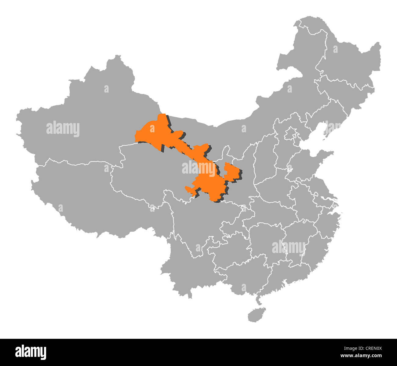 Gansu China Map.Political Map Of China With The Several Provinces Where Gansu Is