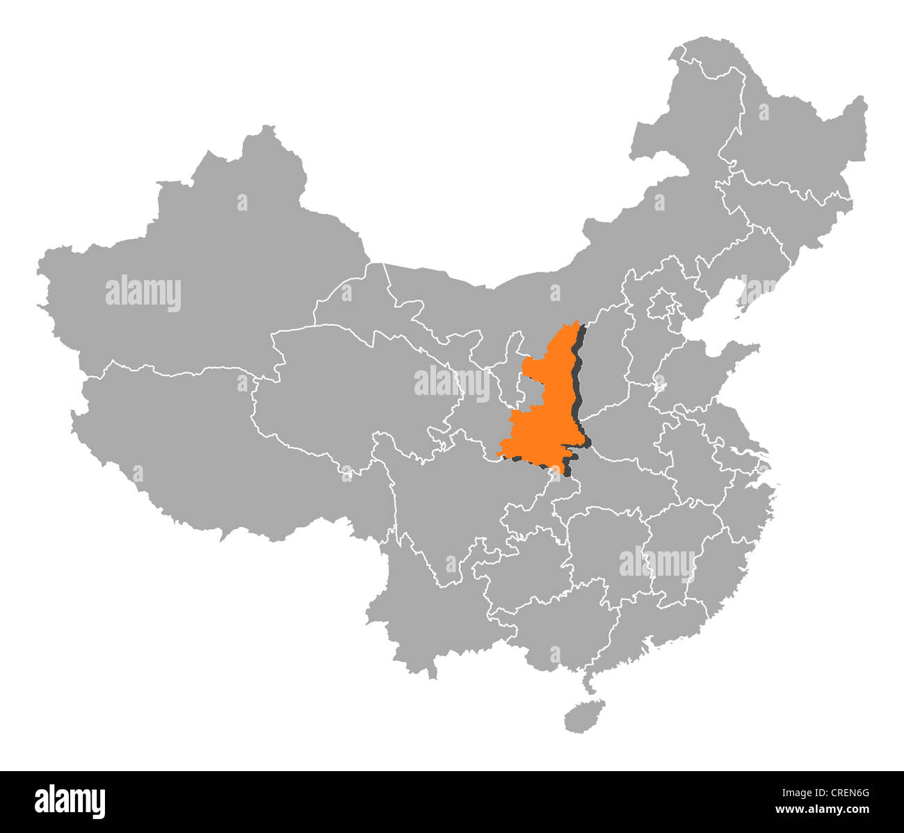 Political map of china with the several provinces where shaanxi is political map of china with the several provinces where shaanxi is highlighted gumiabroncs Images