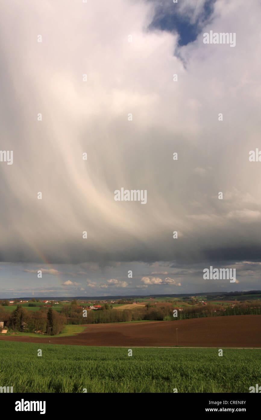 dark rain clouds over the alpine upland, Germany, Bavaria, Oberbayern, Upper Bavaria Stock Photo