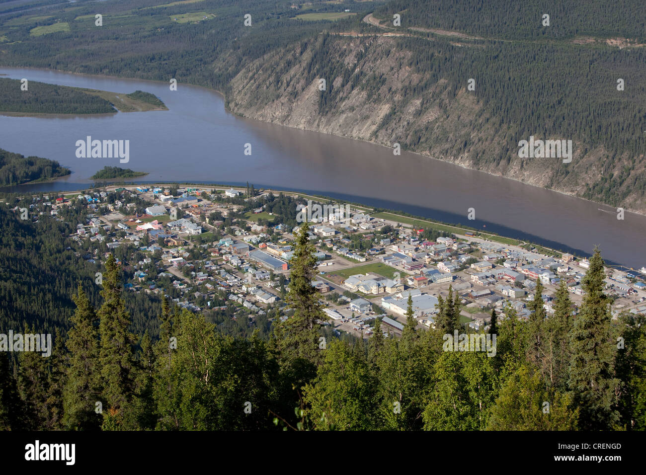 View on Dawson City, Yukon and Klondike Rivers from Midnight Dome, Yukon Territory, Canada - Stock Image