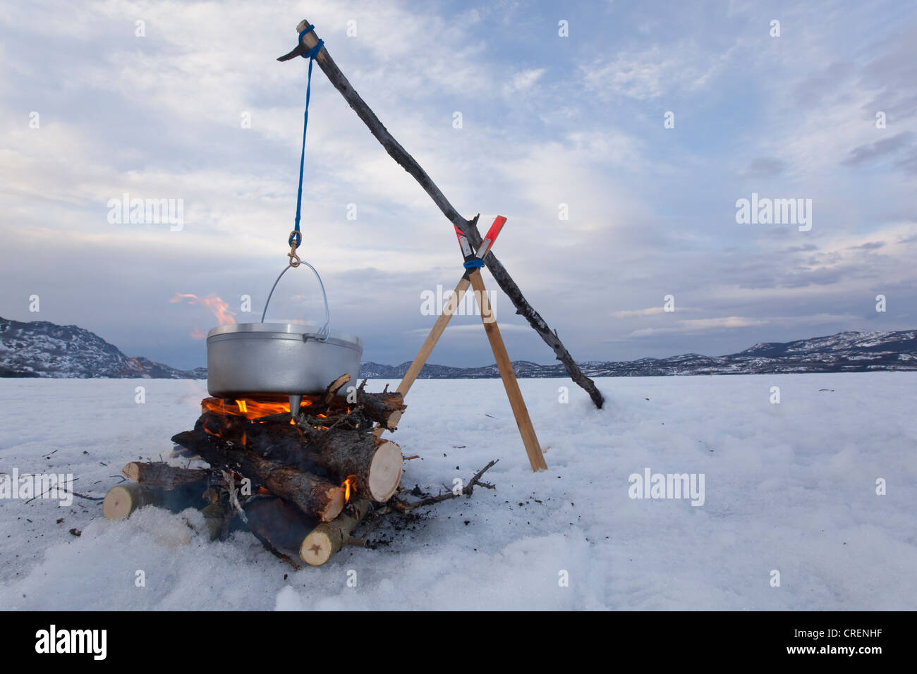 Cooking On A Camp Fire In A Hanging Dutch Oven Ice Of Frozen Lake Stock Photo Alamy