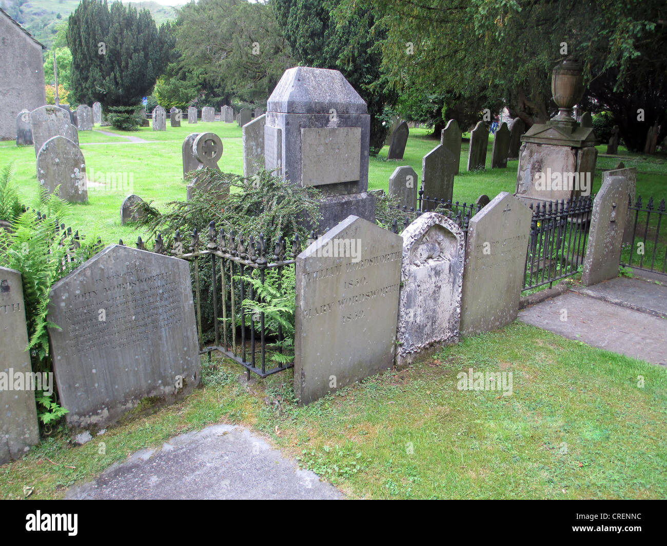 WILLIAM WORDSWORTH (1770-1850)  Burial site of the Wordsworth family at St. Oswald's Church, Grasmere, Cumbria. - Stock Image