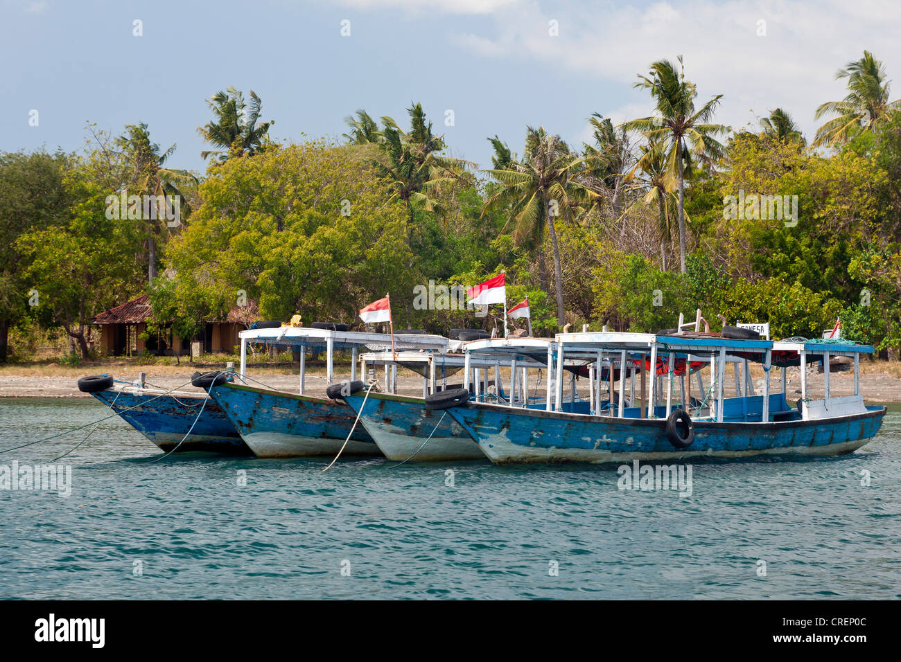 Excursion boats in the harbor of Labuhan Lalang, the starting point to Menjangan Island, West Bali, Bali, Indonesia - Stock Image
