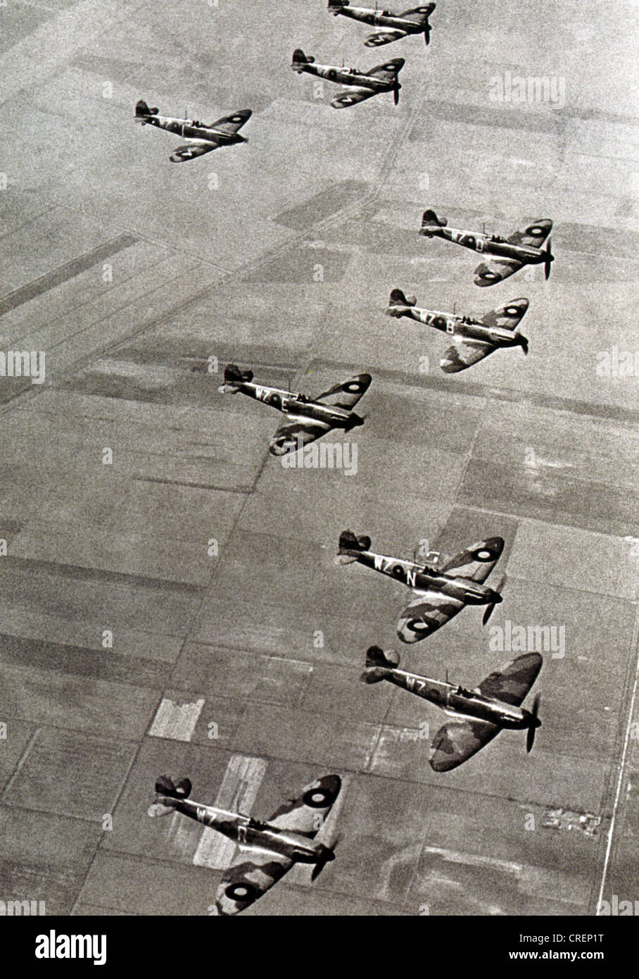 SPITFIRE Mk !s of  19 Squadron RAF over their Duxford, Cambridgeshire, base in May 1939. Note two blade propeller. - Stock Image