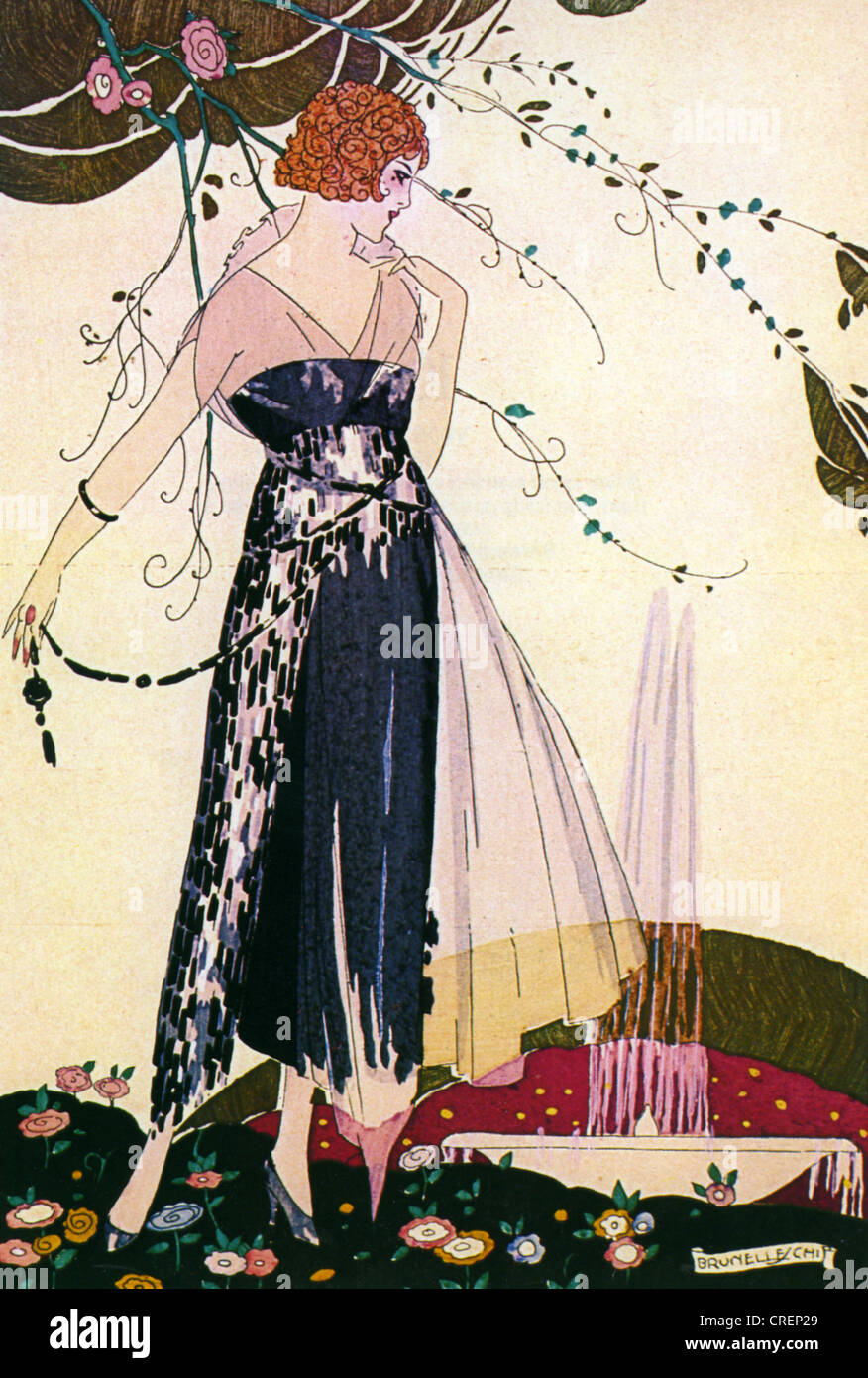 BARCLAY FASHIONS 1919 drawing of an evening gown in the French magazine La Guirlande Stock Photo