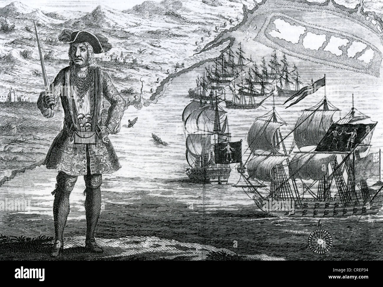 BARTHOLOMEW ROBERTS (1682-1722) aka Black Bart - Welsh pirate at Ouidah on the Guinea coast of Africa in 1722. See - Stock Image