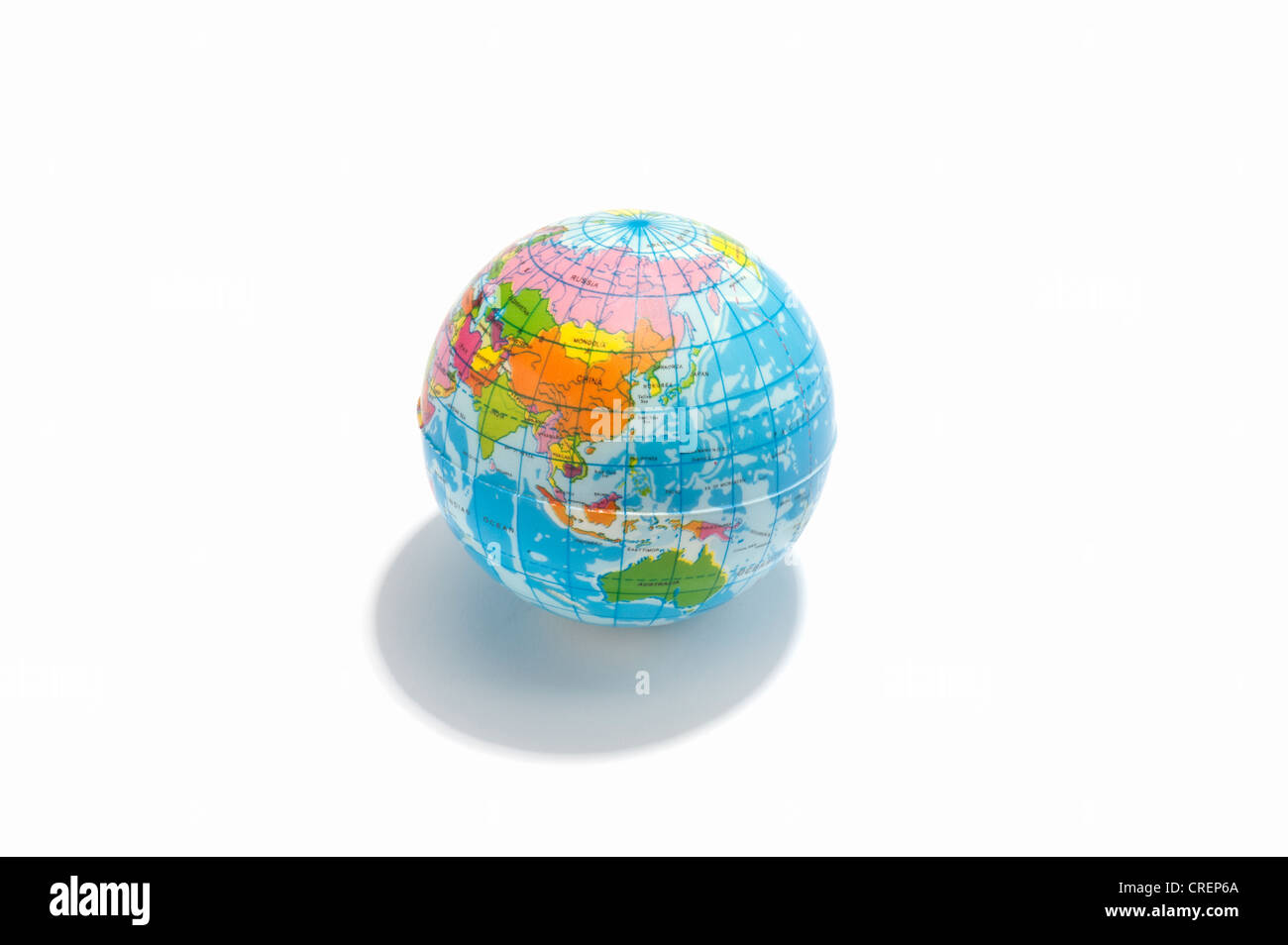 A toy globe, showing Asia and Australia - Stock Image
