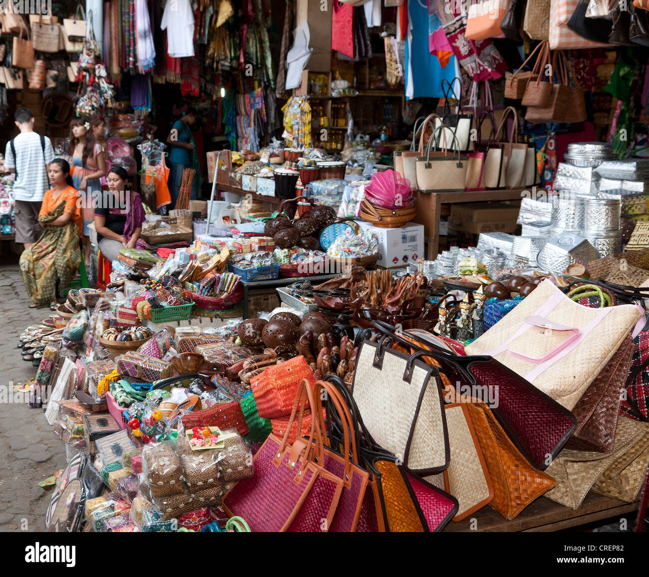 Typical range of goods at a market stall, Ubud, central Bali, Bali, Indonesia, Southeast Asia, Asia - Stock Image