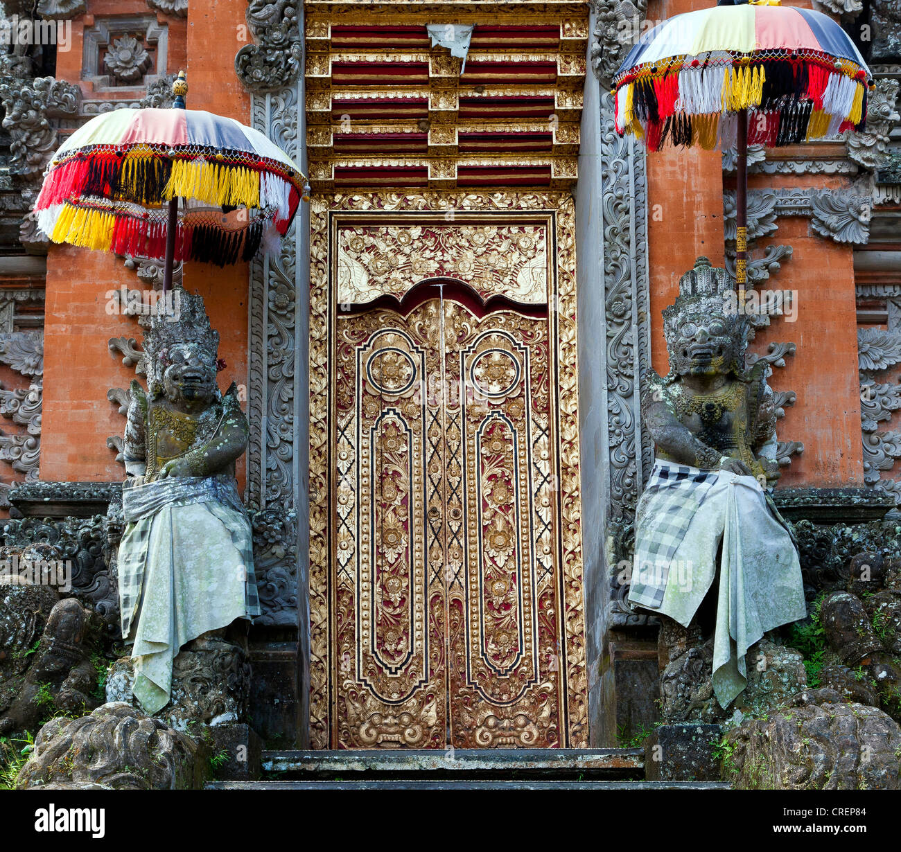 Ornate door in a temple complex, Ubud, central Bali, Bali, Indonesia, Southeast Asia, Asia - Stock Image