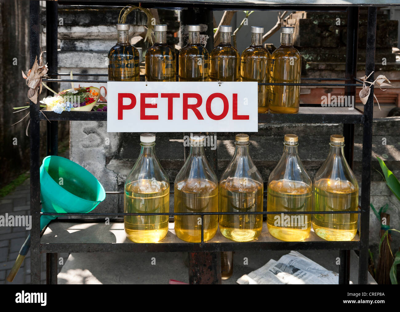 Sale of fuel in bottles, Kuta, south Bali, Bali, Indonesia, Southeast Asia, Asia - Stock Image