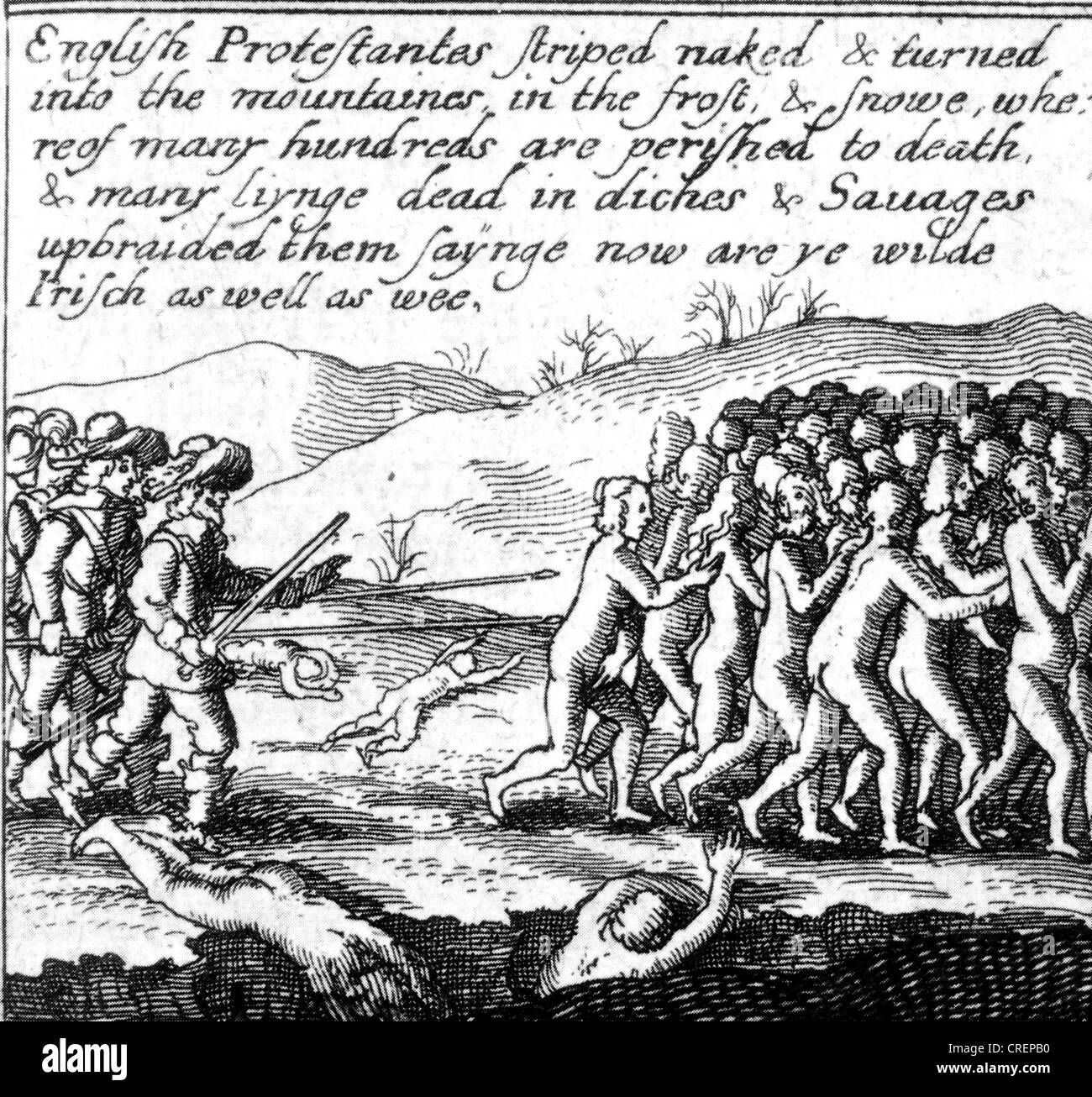 IRISH REBELLION 1641 Woodcut propaganda by Protestant settlers showing them  being driven naked into the countryside by Catholics