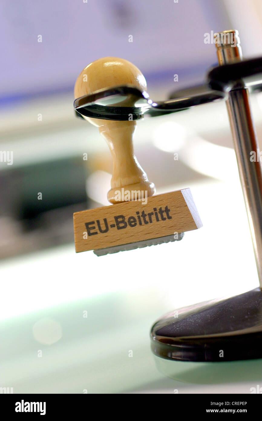 stamp EU-Beitritt, accession to the EC - Stock Image
