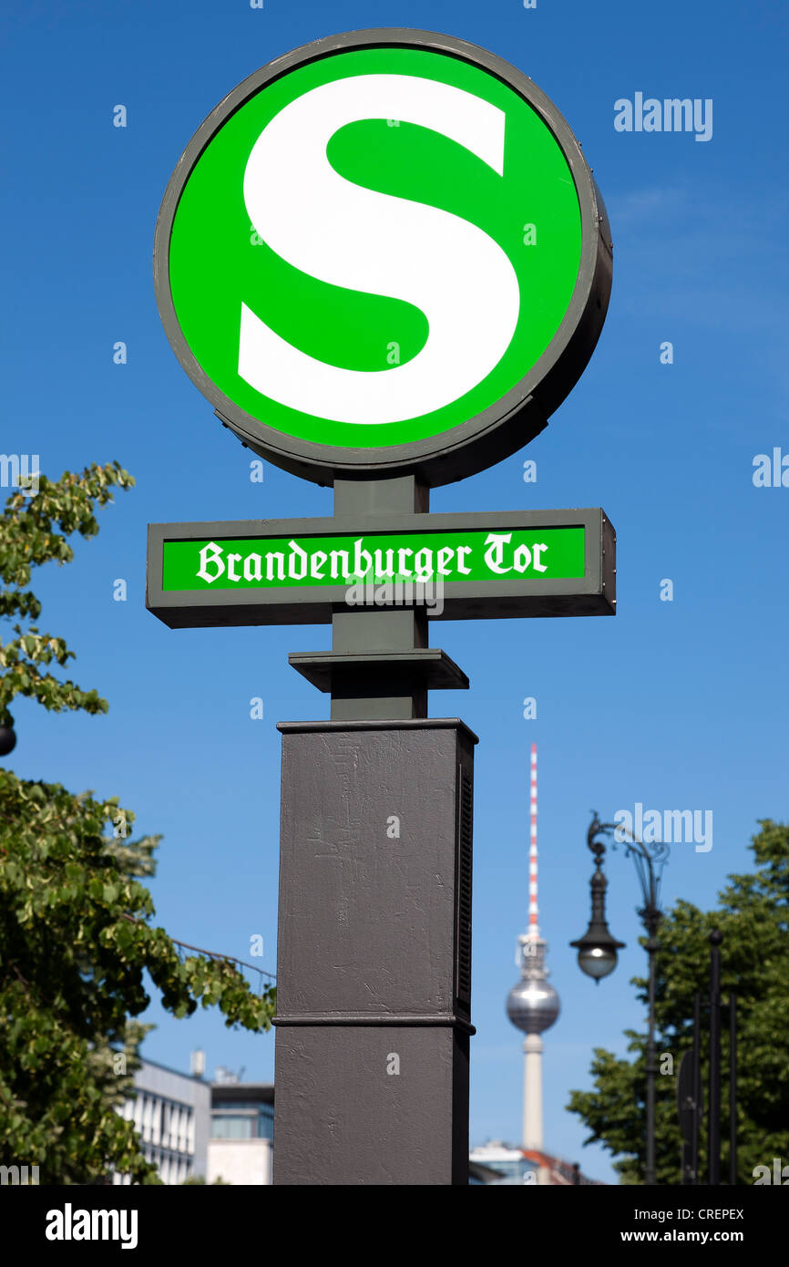 S-Bahn station at Brandenburg Gate, Berlin, capital of Germany, Europe Stock Photo