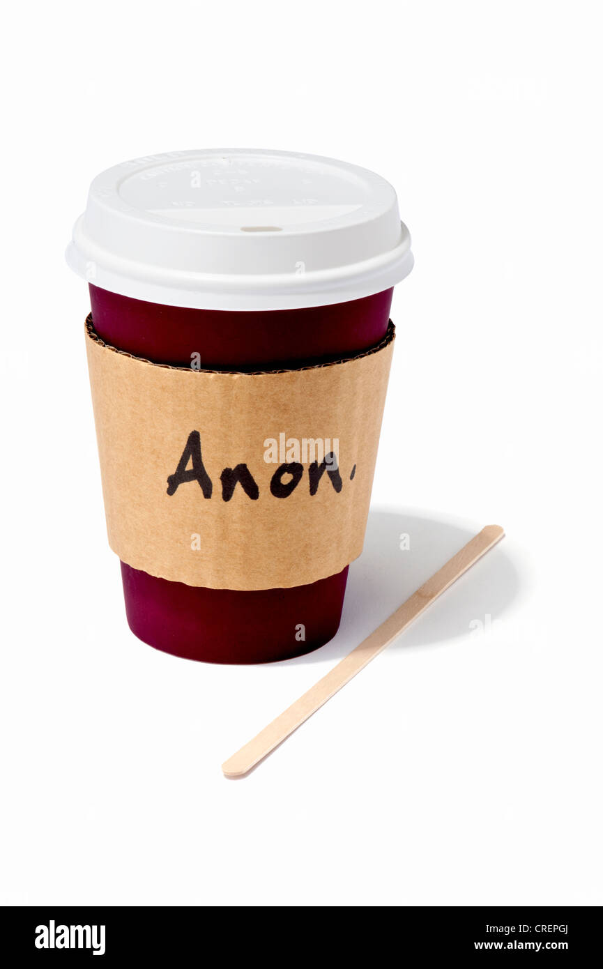 A takeaway drink cup with Anon written on the side - Stock Image