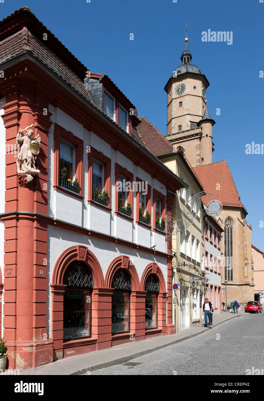 Amtskellerei building, Volkach, Landkreis Kitzingen county, Lower Franconia, Bavaria, southern Germany, Germany, - Stock Image
