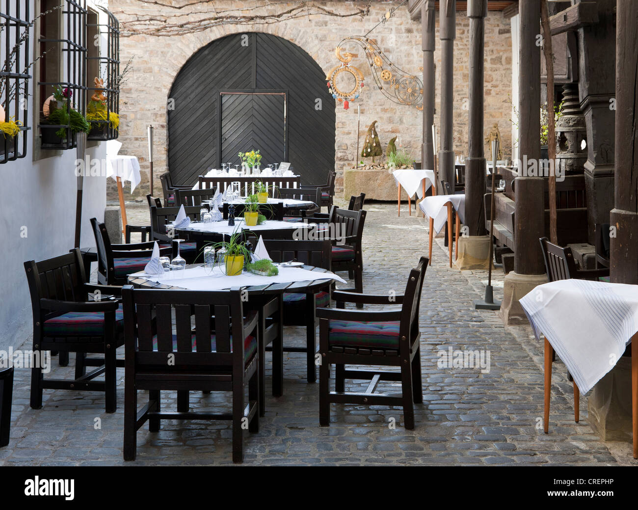 Weingut Zur Schwane winery, Volkach, Landkreis Kitzingen county, Lower Franconia, Bavaria, southern Germany, Germany, - Stock Image