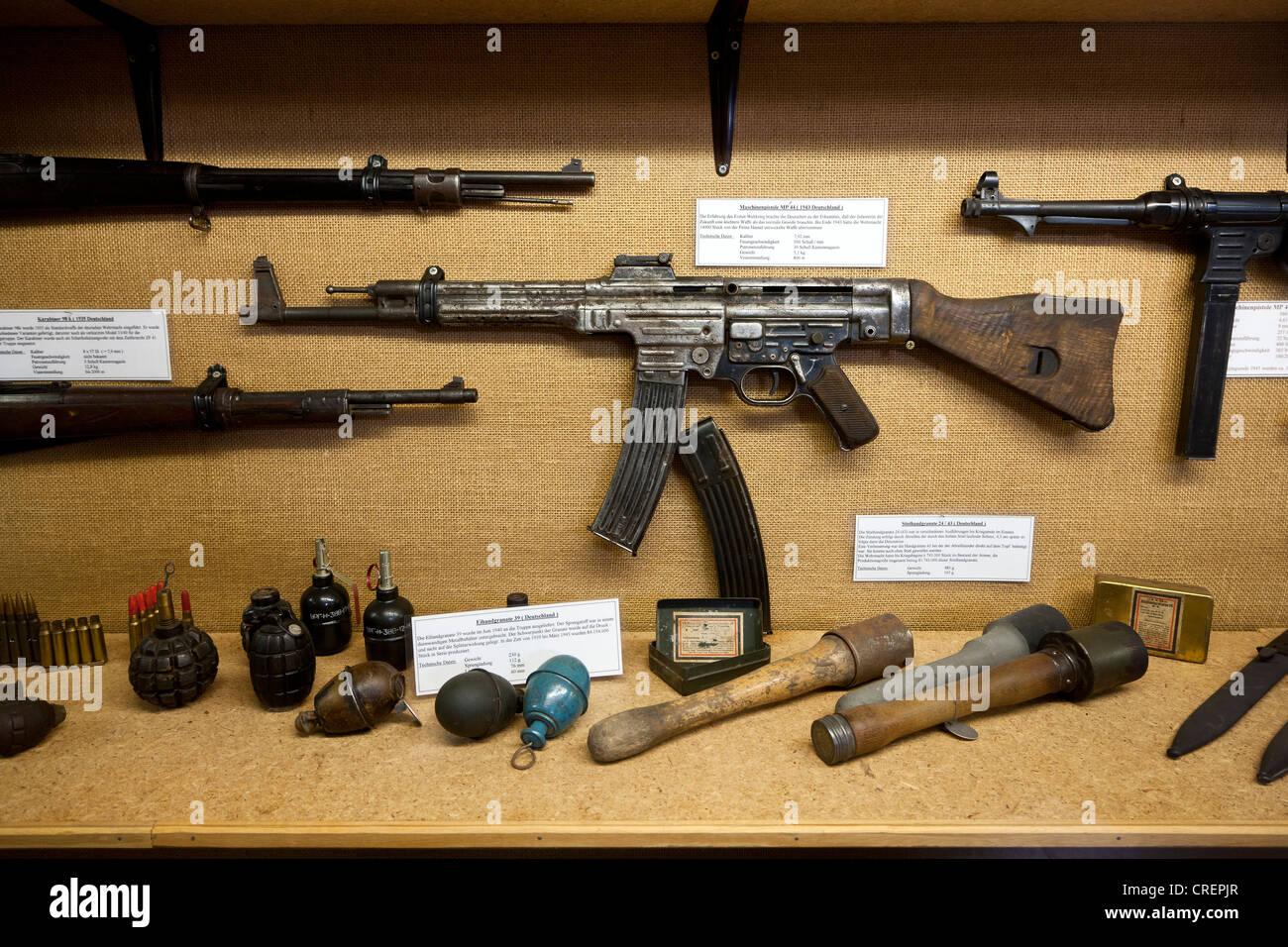 Firearms and hand grenades, Stammheim military museum, Stammheim, Landkreis Schweinfurt county, Lower Franconia, - Stock Image