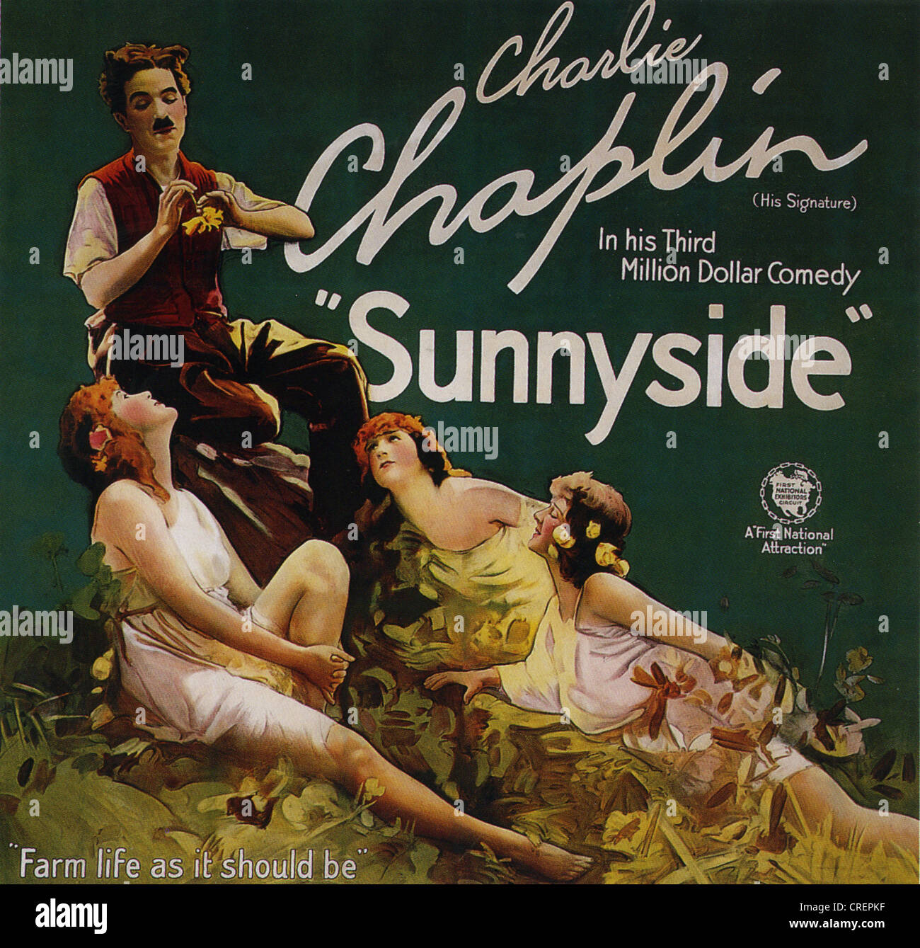 SUNNYSIDE  Poster for 1919 First National film with Charlie Chaplin - Stock Image
