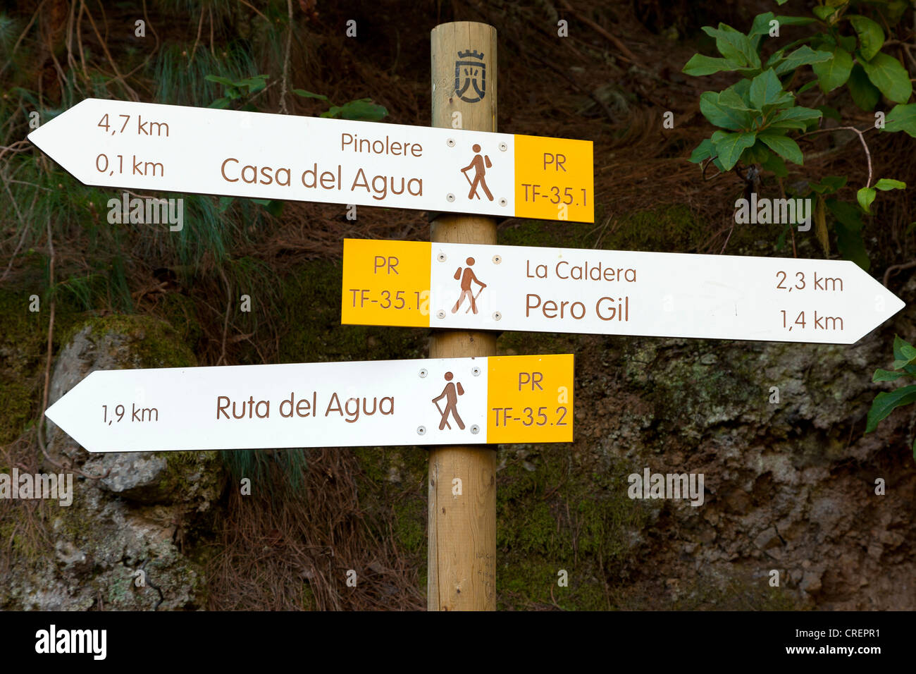 Signage, trail near Aguamansa, Tenerife, northern part, Canary Islands, Spain, Europe - Stock Image