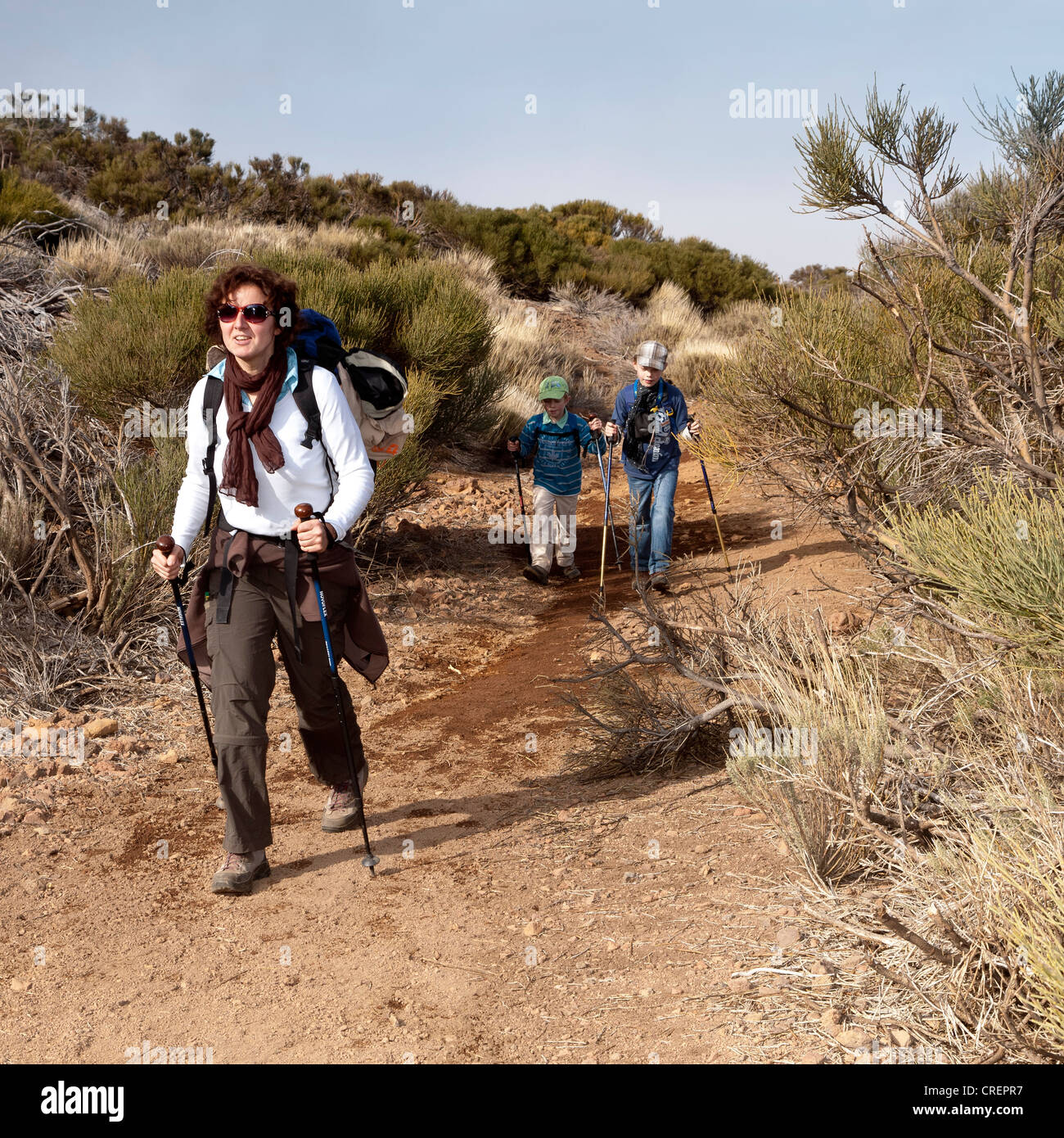 Mother hiking with her children, Teide National Park, Tenerife, Canary Islands, Spain, Europe - Stock Image