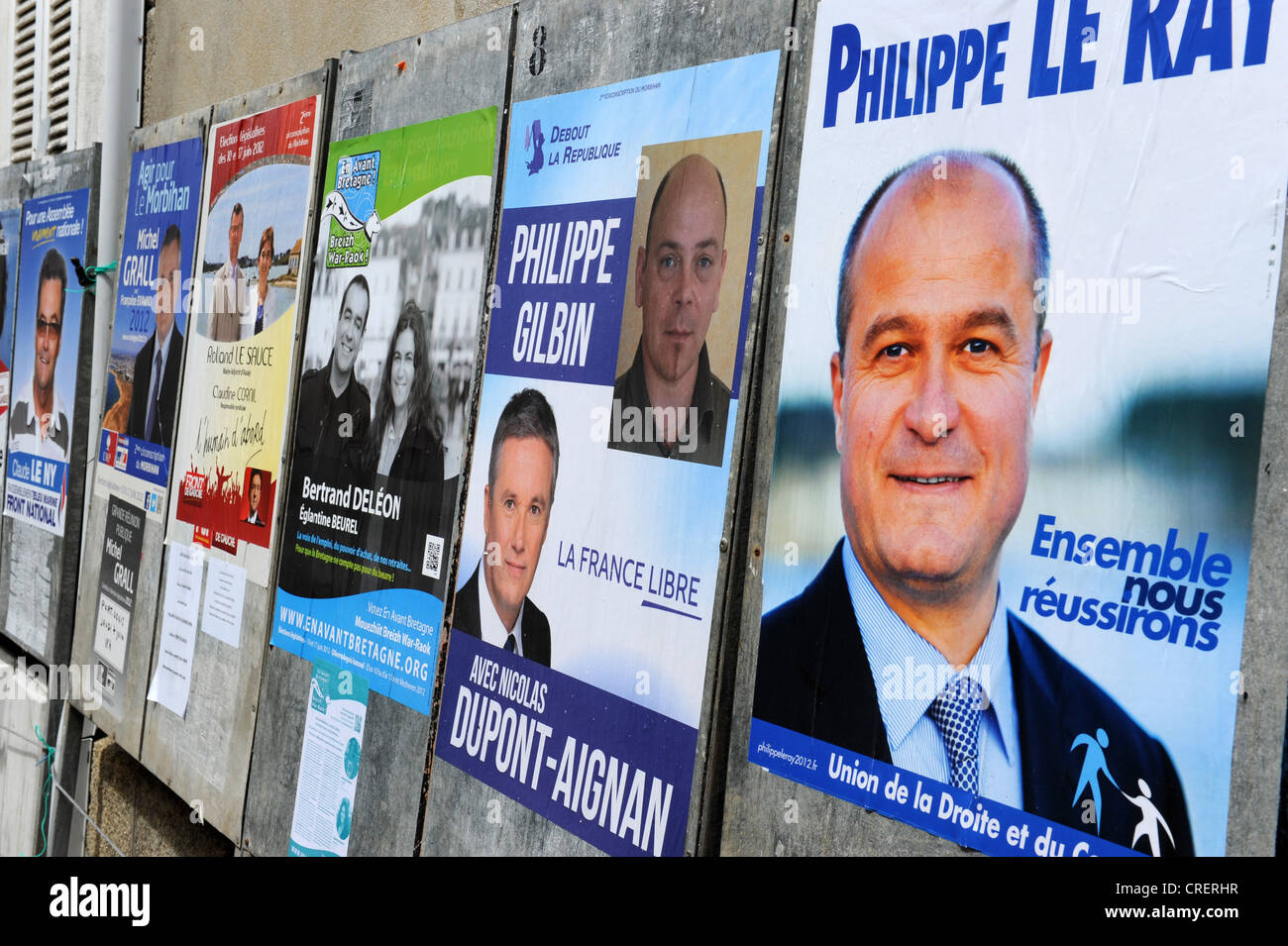 Political candidates posters in Brittany France - Stock Image