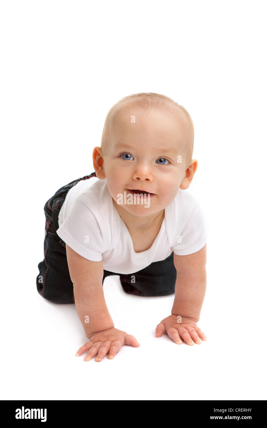 Happy Baby Boy Happy 9 Month Old Cut Out Stock Images Pictures Alamy