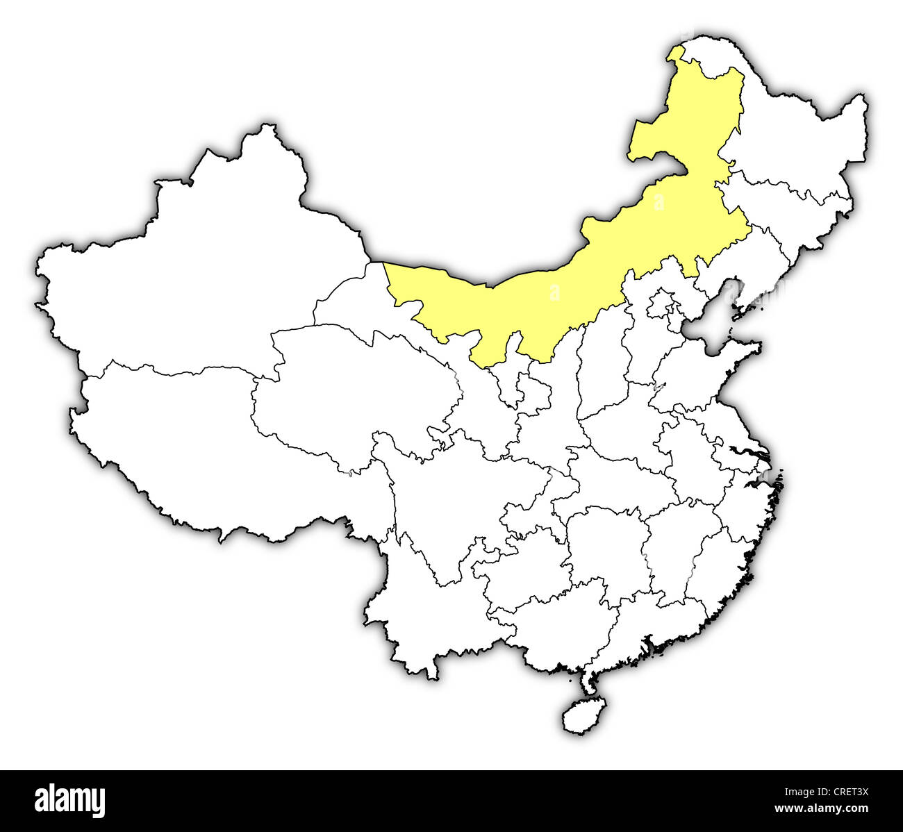 Map china inner mongolia highlighted stock photos map china inner political map of china with the several provinces where inner mongolia is highlighted stock gumiabroncs Choice Image