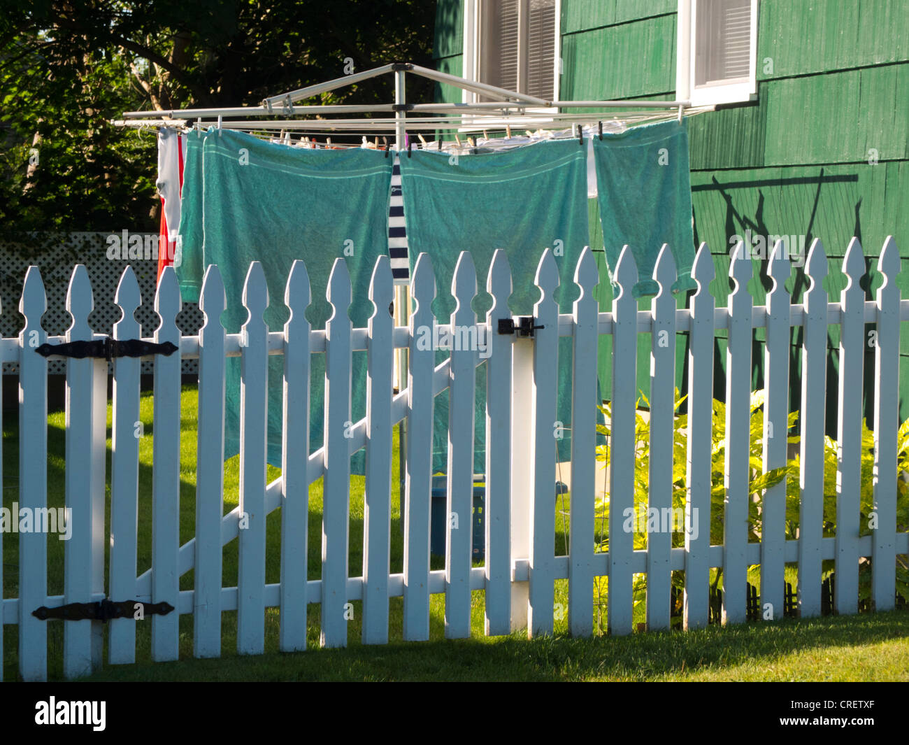 laundry hanging on a old fashioned clothes line Stock Photo - Alamy