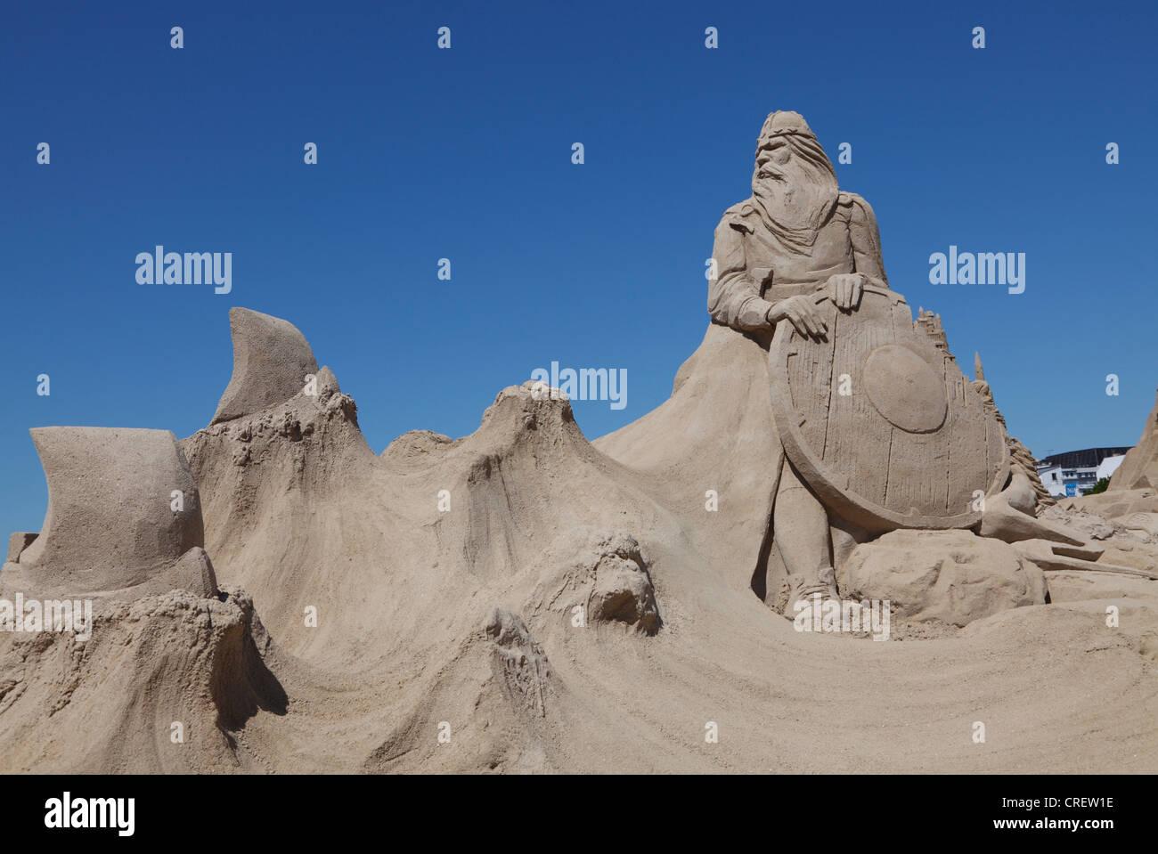 Copenhagen International Sand Sculpture Festival 2012, near Nyhavn: The Vikings - by Charlotte Koster, The Netherlands - Stock Image