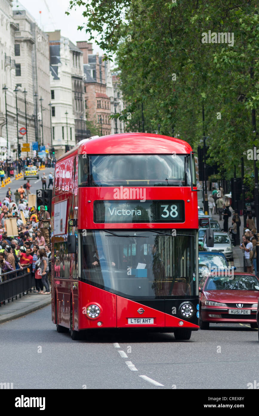 The New Bus for London, also known as the New Routemaster, Borismaster or Boris Bus, on Piccadilly, London, UK. - Stock Image