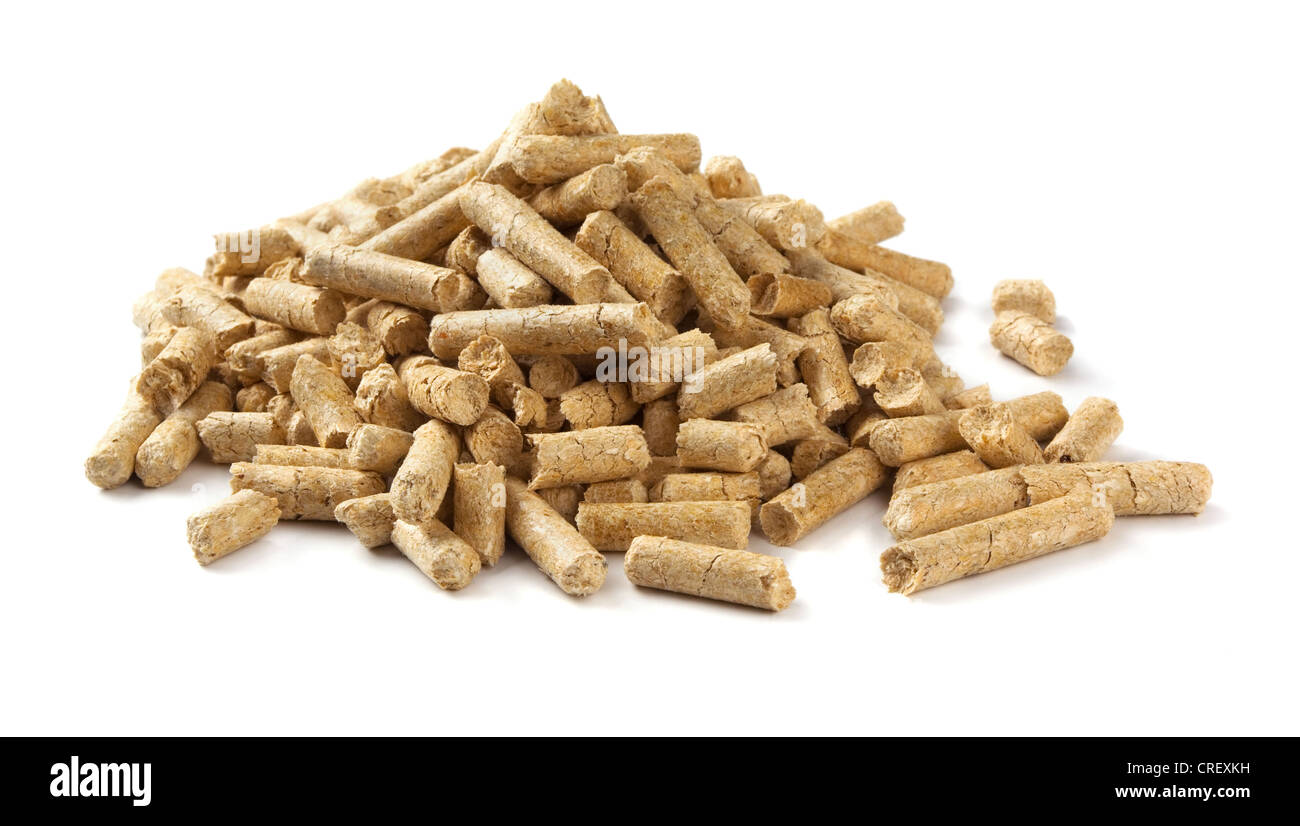 Pile of wood pellets isolated on white - Stock Image