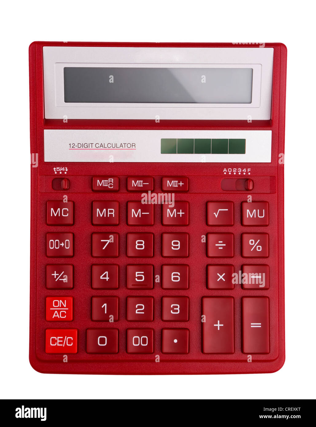 Red calculator - top view isolated on white - Stock Image