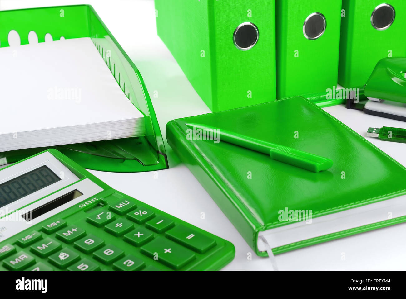 Green office stationery still life as a concept of environmental business Stock Photo