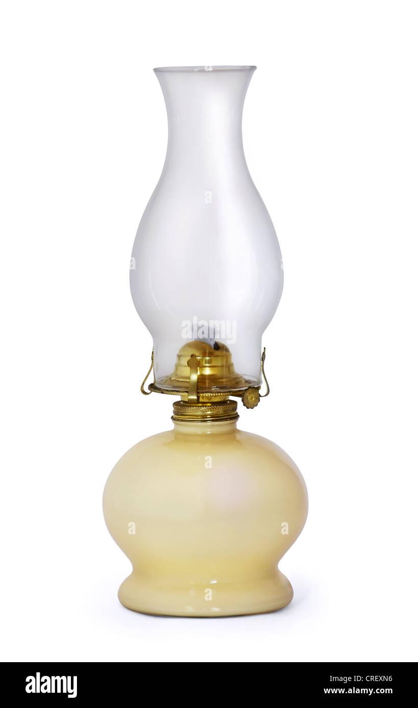Old swiss kerosene lamp isolated on white - Stock Image