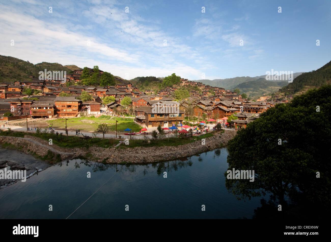 Xijiang Miao village and a bight of Xi River, China - Stock Image