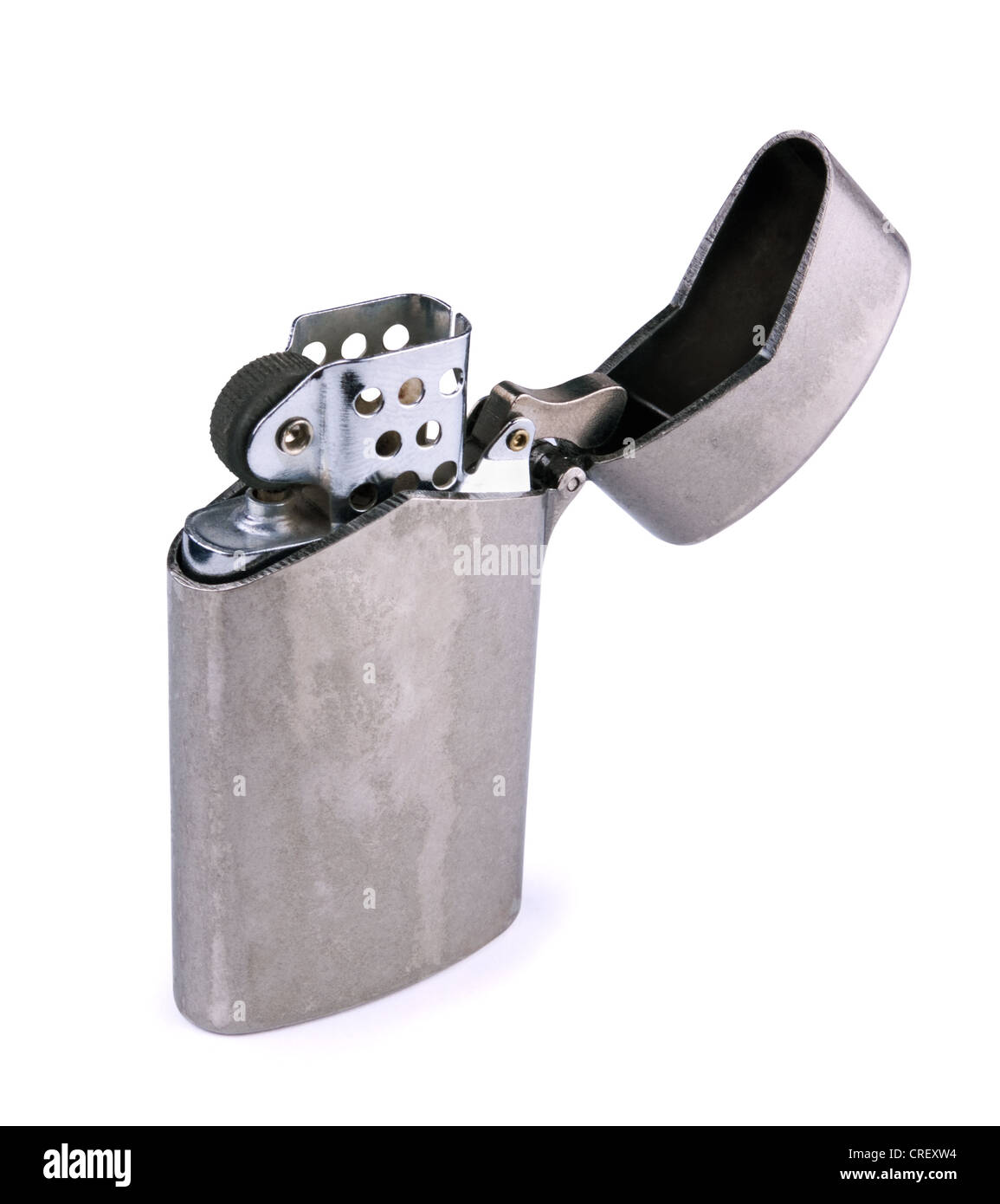 Old cigarette lighter isolated on white - Stock Image