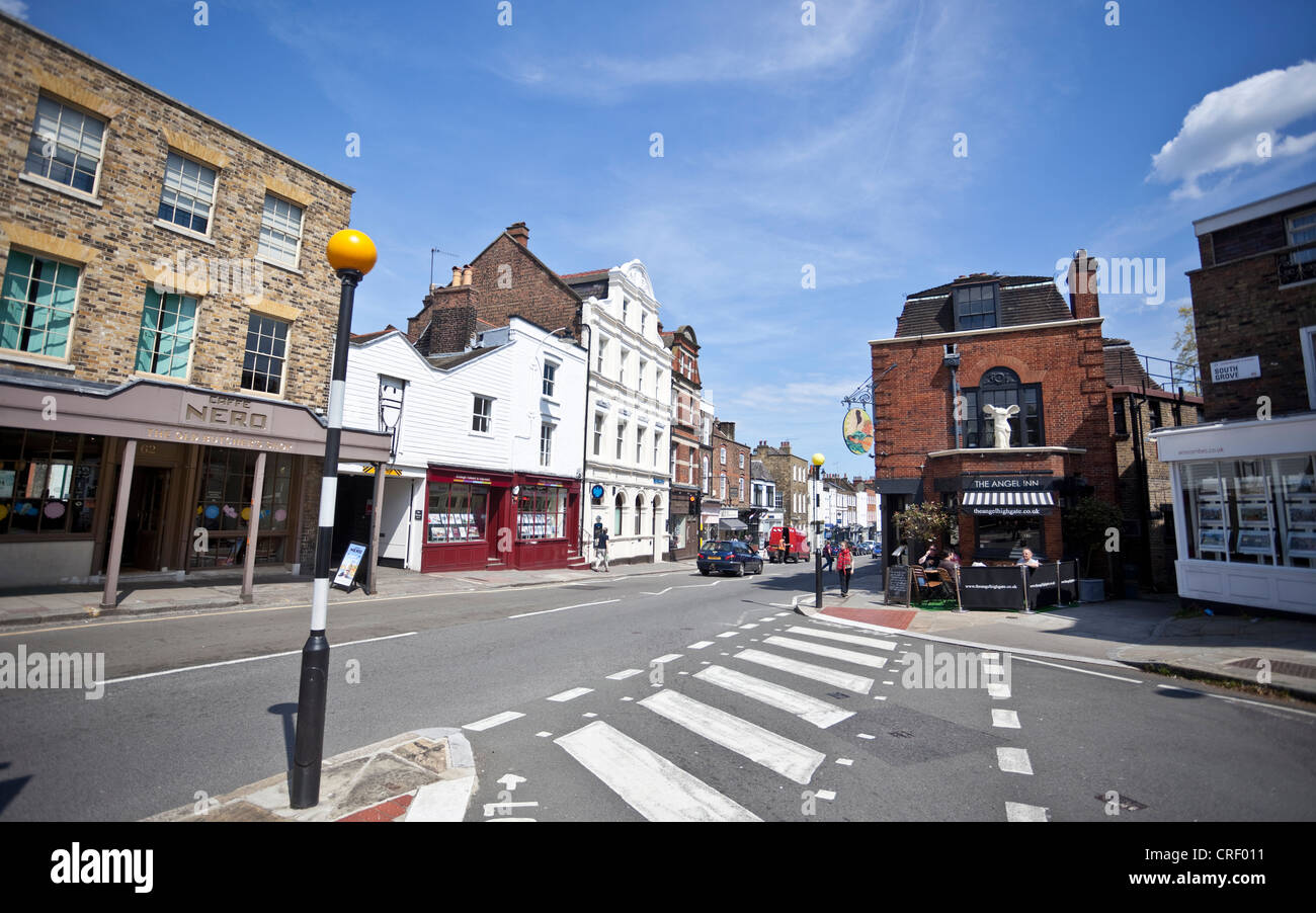 Street scene on Highgate High Street, London, N6, England, UK - Stock Image