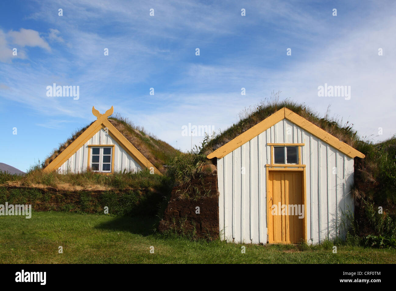 sod houses at Laufas , Iceland - Stock Image