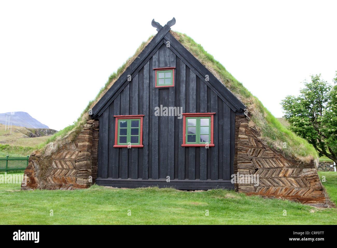 sod house church near Vidimyrarkirkja, Iceland, Vidimyrarkirkja - Stock Image