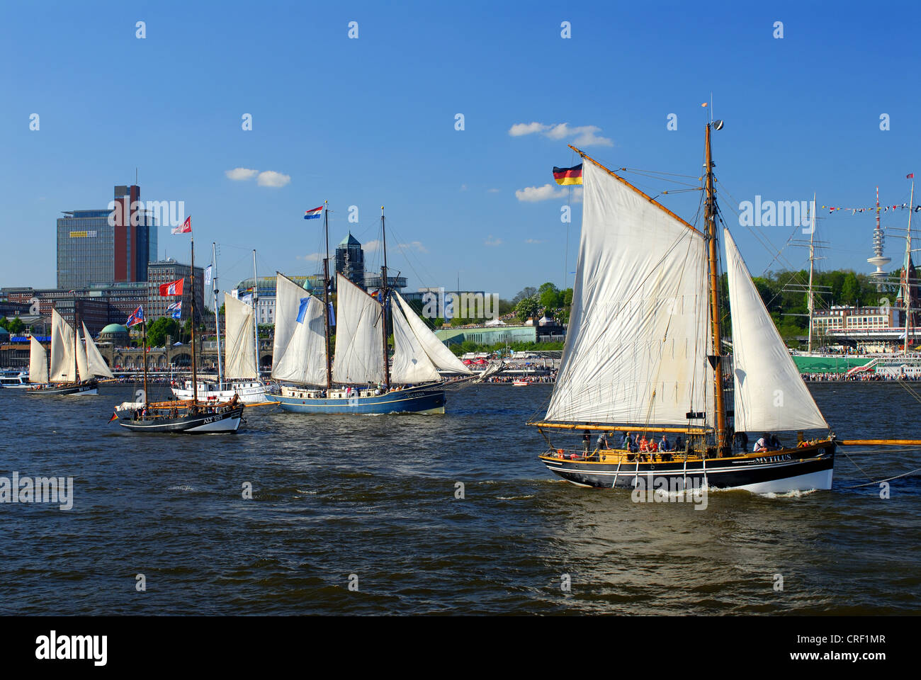 birthday of Port of Hamburg, sailboats in front of the City, Germany, Hamburg - Stock Image