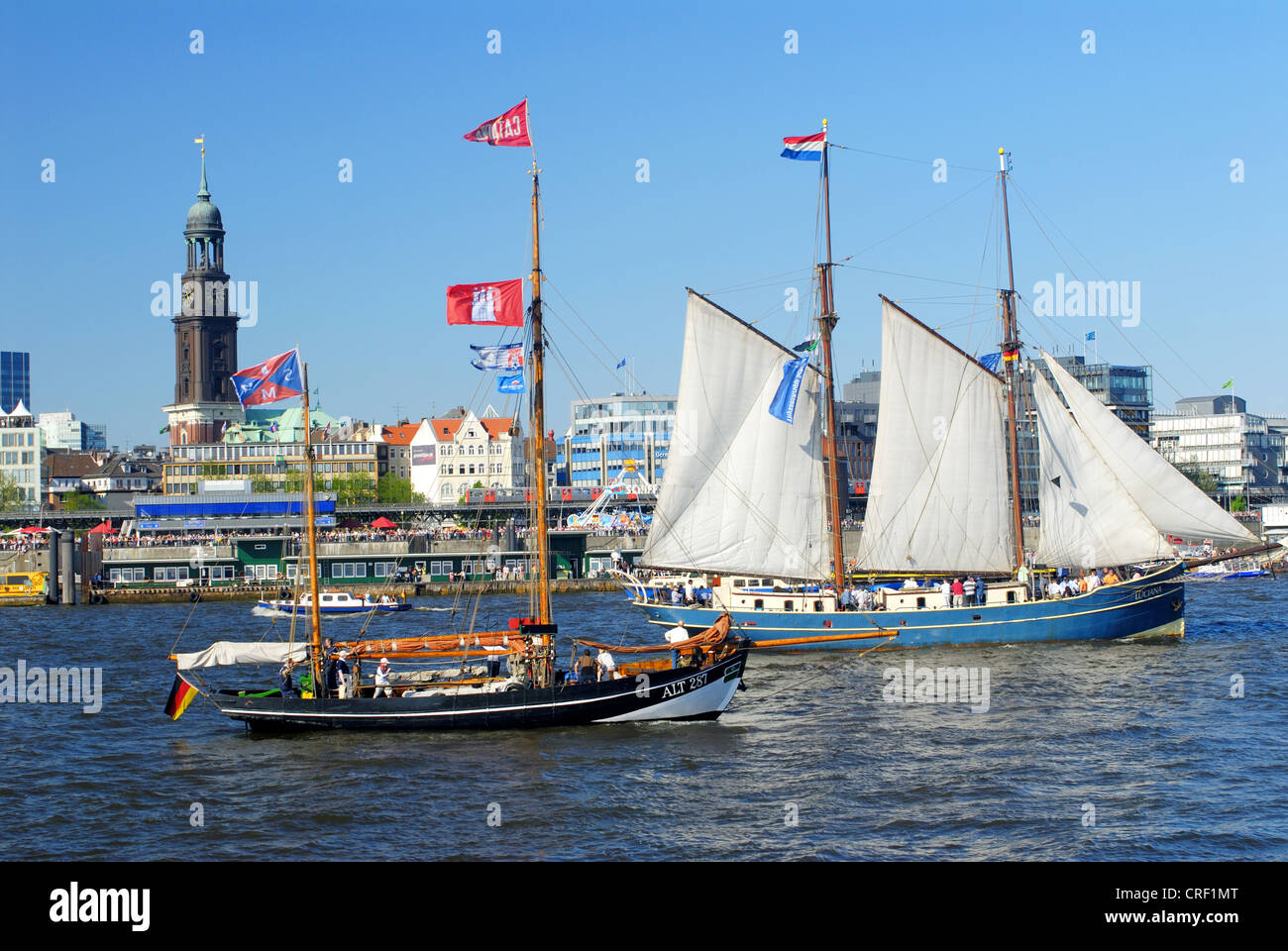 birthday of Port of Hamburg, sailboats in front of St. Michaelis, Germany, Hamburg - Stock Image